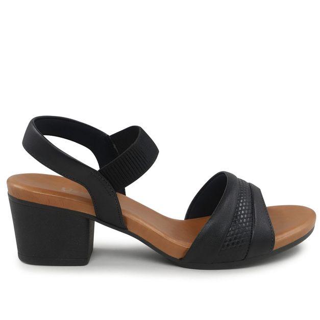Sandália escamado preto salto médio 34