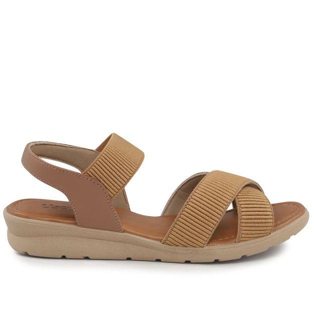 Sandália elástico camel 35