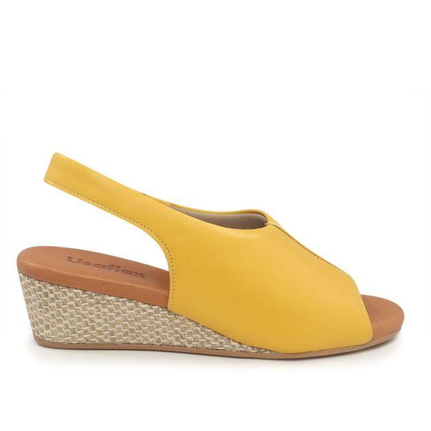 Slingback anabela amarelo 34