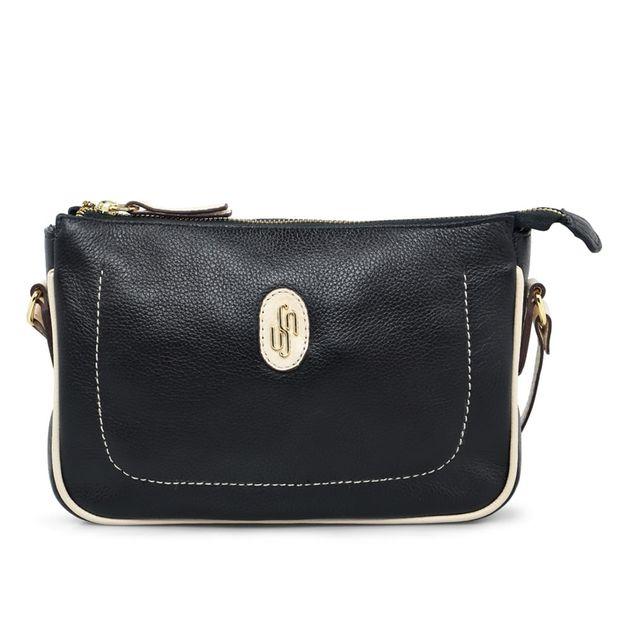 Bolsa tiracolo preta com detalhe vanilla