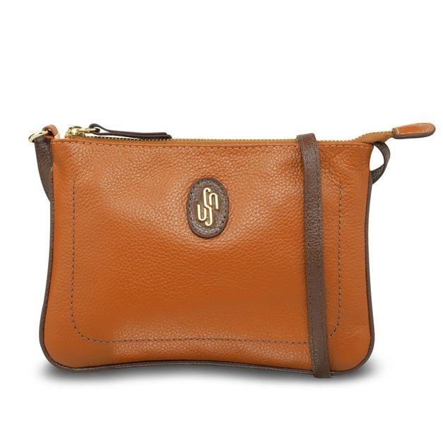 Bolsa tiracolo marrom com costura enfeite