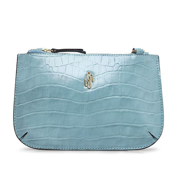Bolsa tiracolo pequena croco azul claro