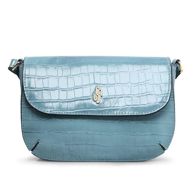 Bolsa tiracolo croco azul claro