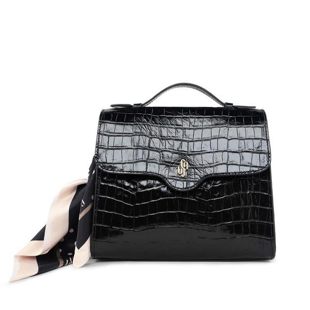 Bolsa tote croco preta com lenço