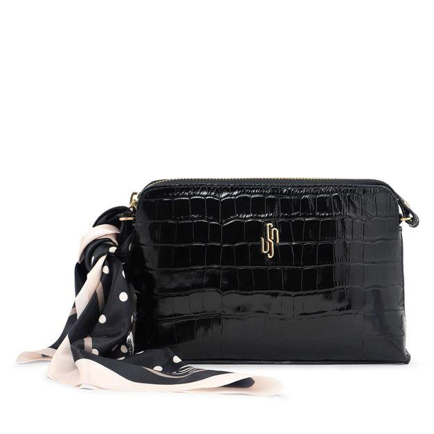 Bolsa tiracolo croco preta com lenço