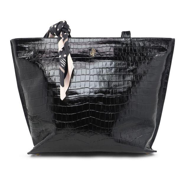 Bolsa shopper croco preta com lenço