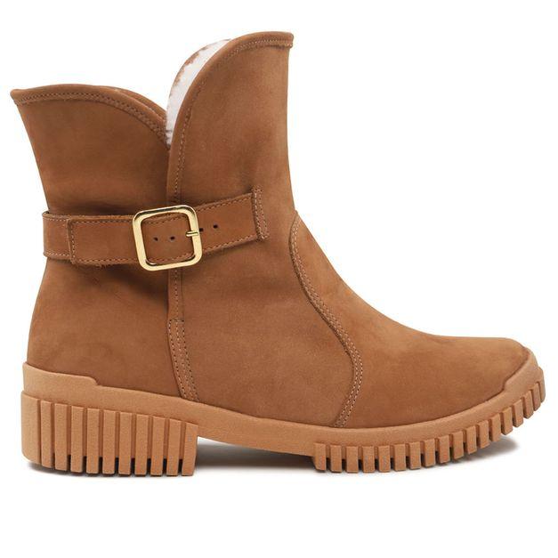 Flexy boot marrom camel forrada com pelo 35