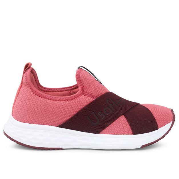 Tênis rosa com tiras cruzadas Usa+leve Rainha 34