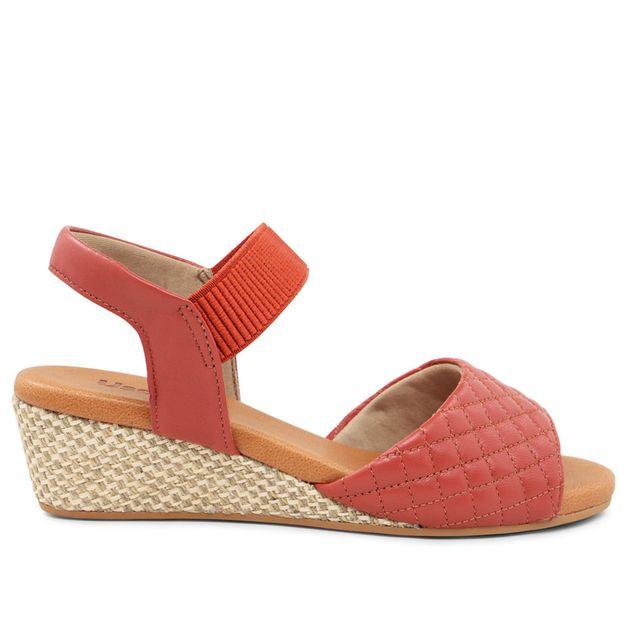 Sandália anabela vermelha 33