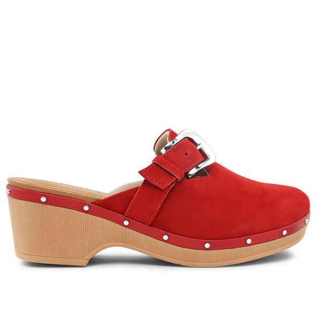 Clog aveludado vermelho com fivela 33