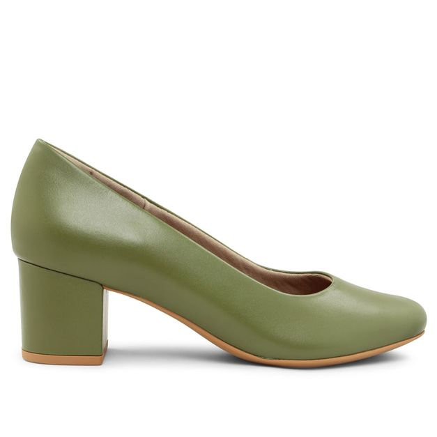 Scarpin liso verde militar 33