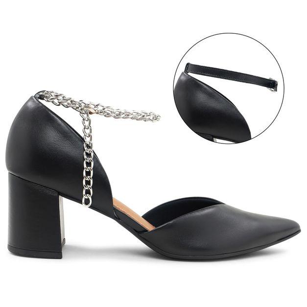 Scarpin preto com tornozeleira personalizável 34