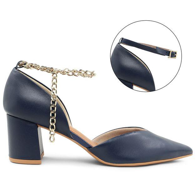 Scarpin azul com tornozeleira personalizável 33