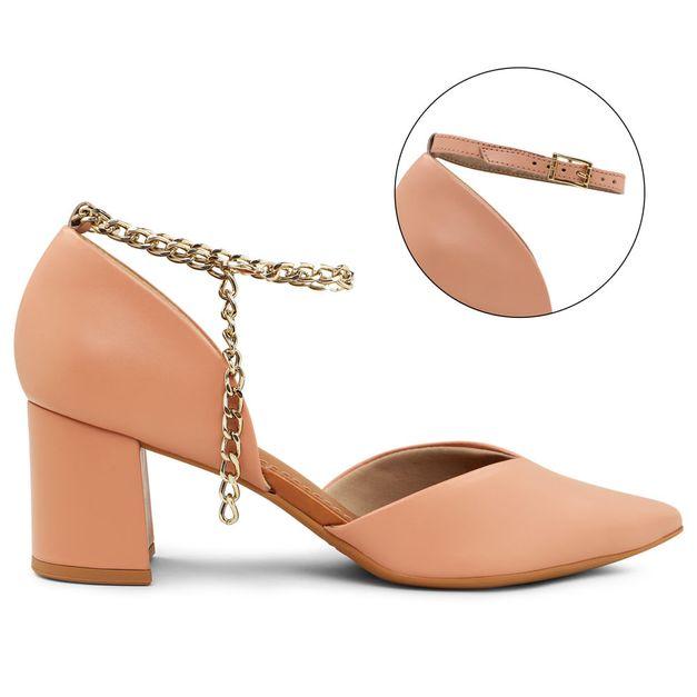 Scarpin rosa quartzo com tornozeleira personalizável 33