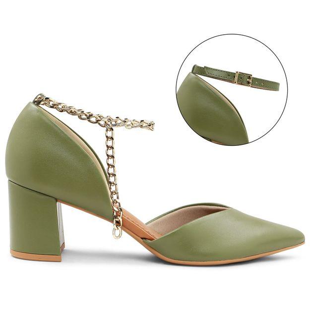 Scarpin verde militar com tornozeleira personalizável 33