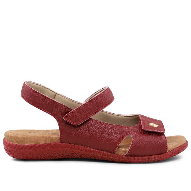 Sandália ajustes com velcro vermelho rebu 33