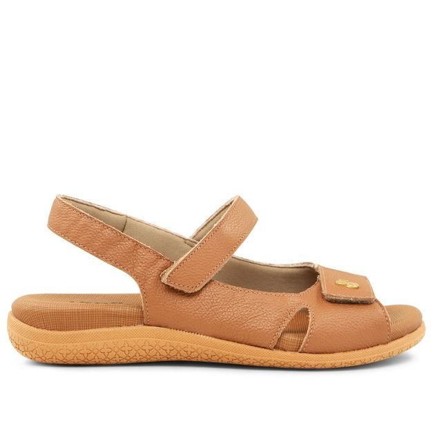 Sandália ajustes com velcro marrom camel 33
