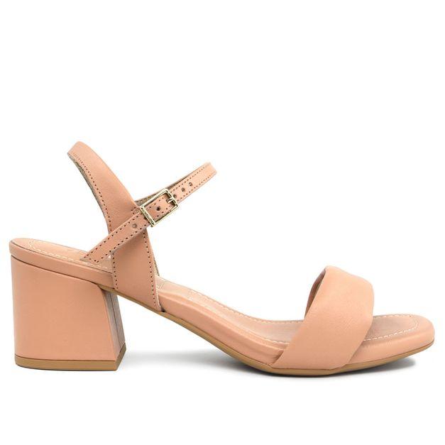 Sandália lisa rosa quartzo com salto médio 33