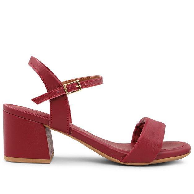 Sandália lisa vermelho rebu com salto médio 33