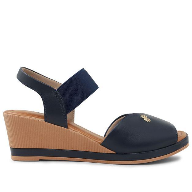 Sandália azul salto anabela 33