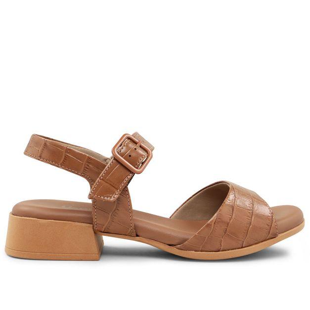Sandália croco marrom camel 33