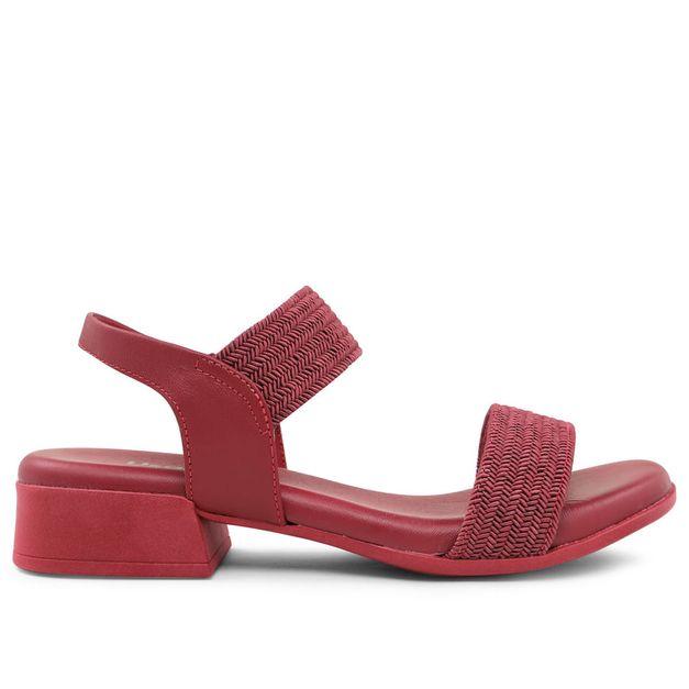 Sandália vermelho rebu e tiras trançadas 33