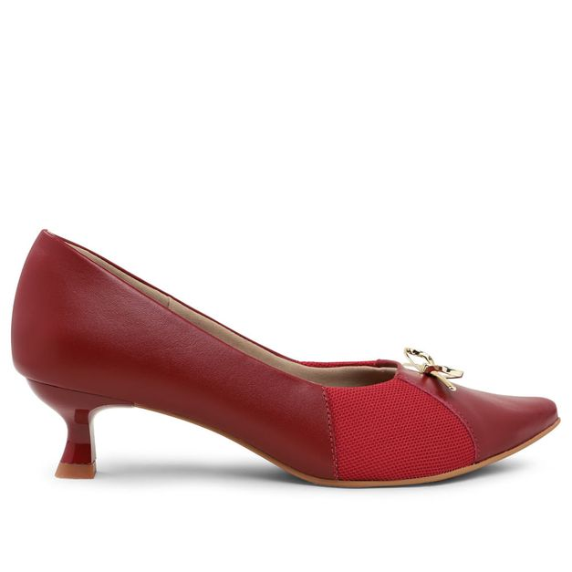 Scarpin vermelho rebu kitten heel com lacinho 33