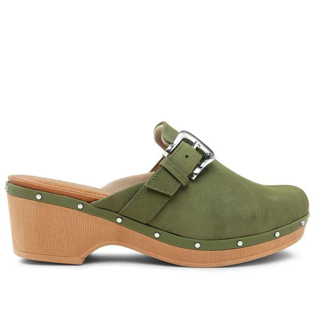 Clog aveludado verde militar com fivela 35