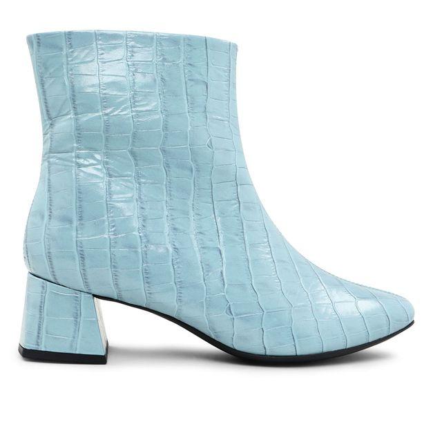 Bota couro croco azul claro 33