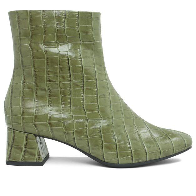 Bota couro croco verde militar 33