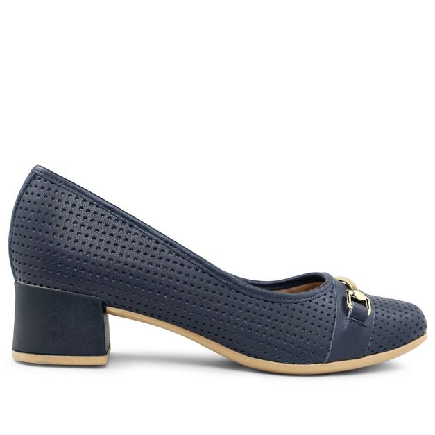 Scarpin azul new blue com fivela 33