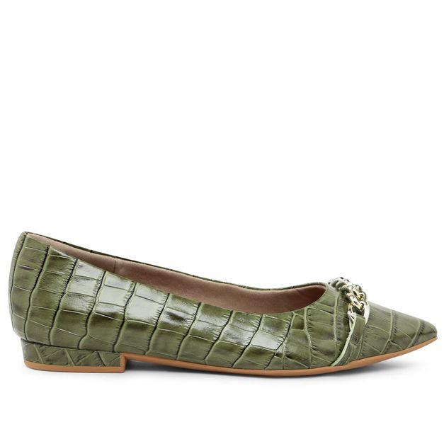Sapatilha croco verde militar com corrente 33