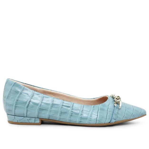 Sapatilha croco azul claro com corrente 33