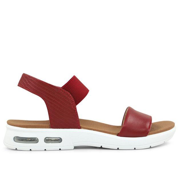 Sandália com elástico vermelho rebu 33