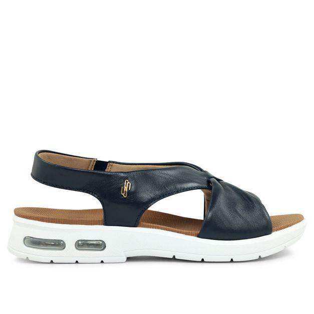 Sandália azul com drapeado 33