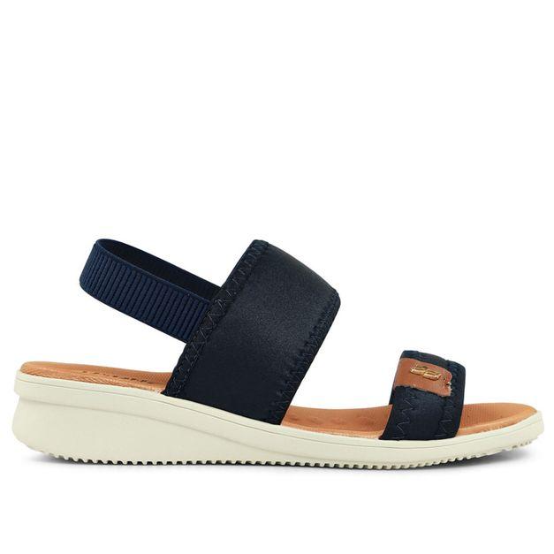 Sandália de tiras azul marinho e salto anabela 33