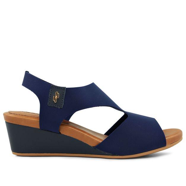 Sandália anabela elastano azul 33