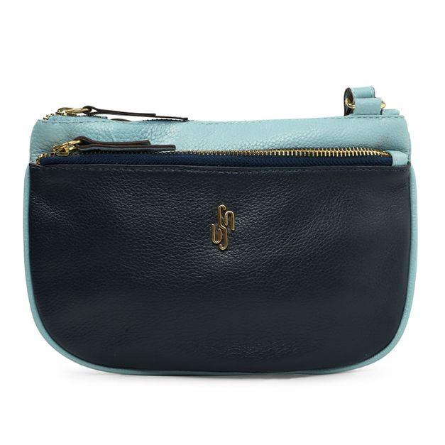 Bolsa azul com bolso externo