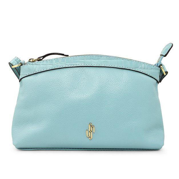 Bolsa tiracolo azul claro com alça regulável