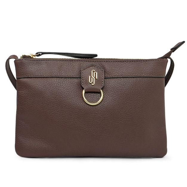 Bolsa tiracolo marrom com alça regulável