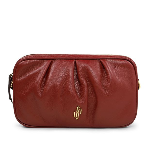 Bolsa tiracolo vermelho rebu com pregas