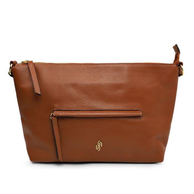 Bolsa hobo marrom canela com bolso externo