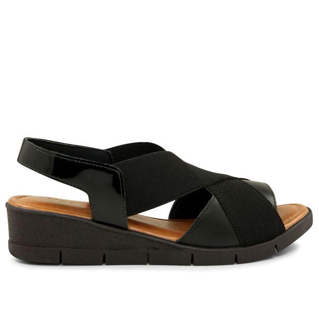 Sandália com verniz e elástico preta 33