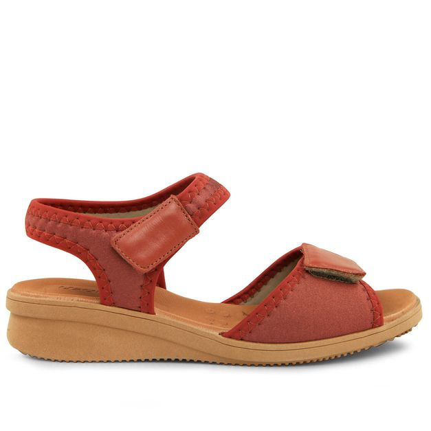 Sandália velcro vermelho urucum 33