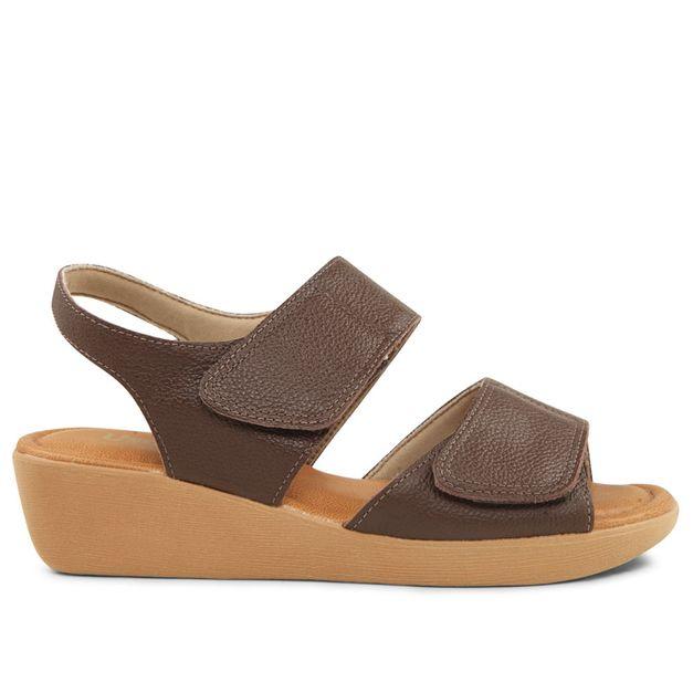 Sandália com velcro marrom chocolate 33