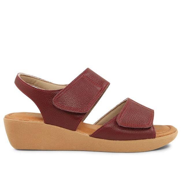 Sandália com velcro vermelho rebu 33