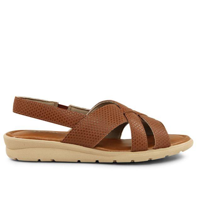 Sandália tiras escamado marrom canela 33