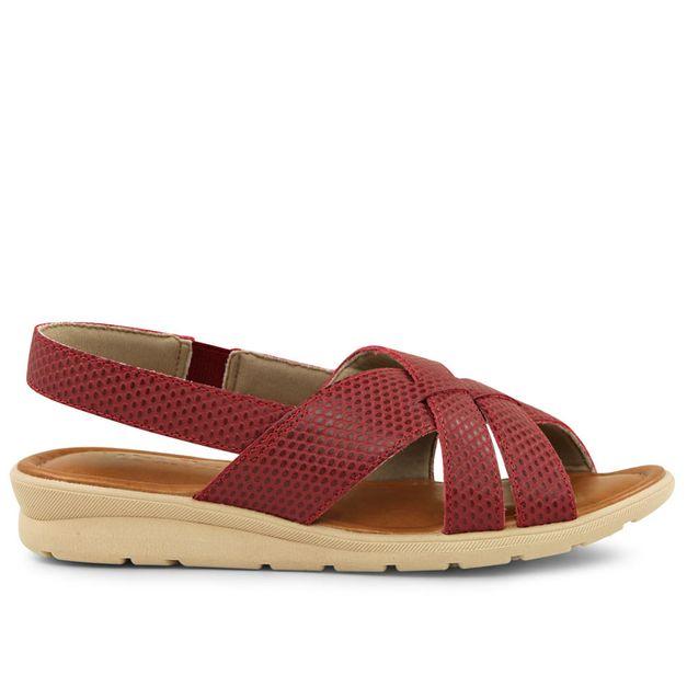 Sandália tiras escamado vermelho rebu 33