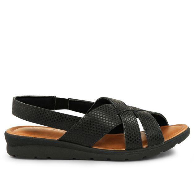 Sandália tiras escamado preto 34