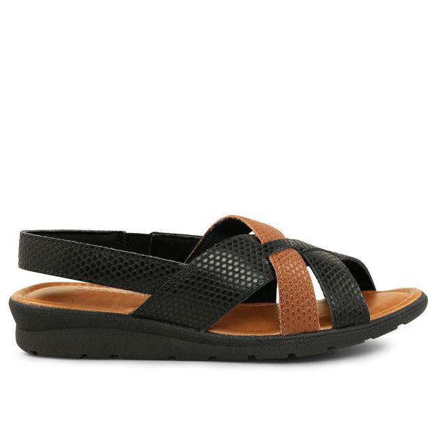 Sandália tiras escamado preto com marrom 33